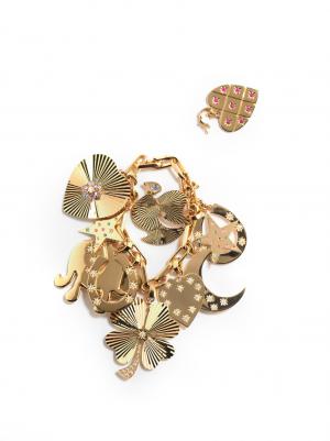 14kt gold large charm bracelet