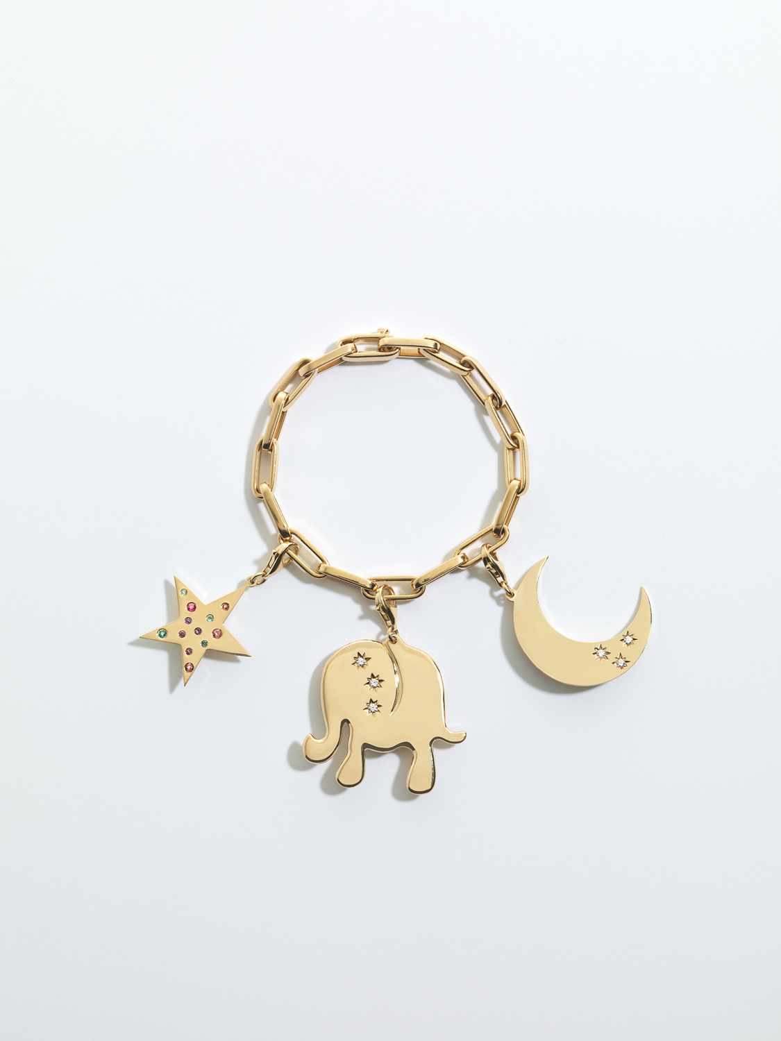 Hope and Happiness 14K 19 Inch Bracelet in Yellow gold 14K Elephant Set with 0.11ct of diamonds 14K Moon Set with 0.09ct of diamonds 14K Star Set with 0.33ct of pastel toned tourmalines
