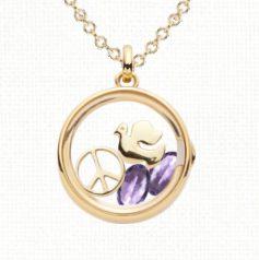 February birthstone amethyst charm and locket