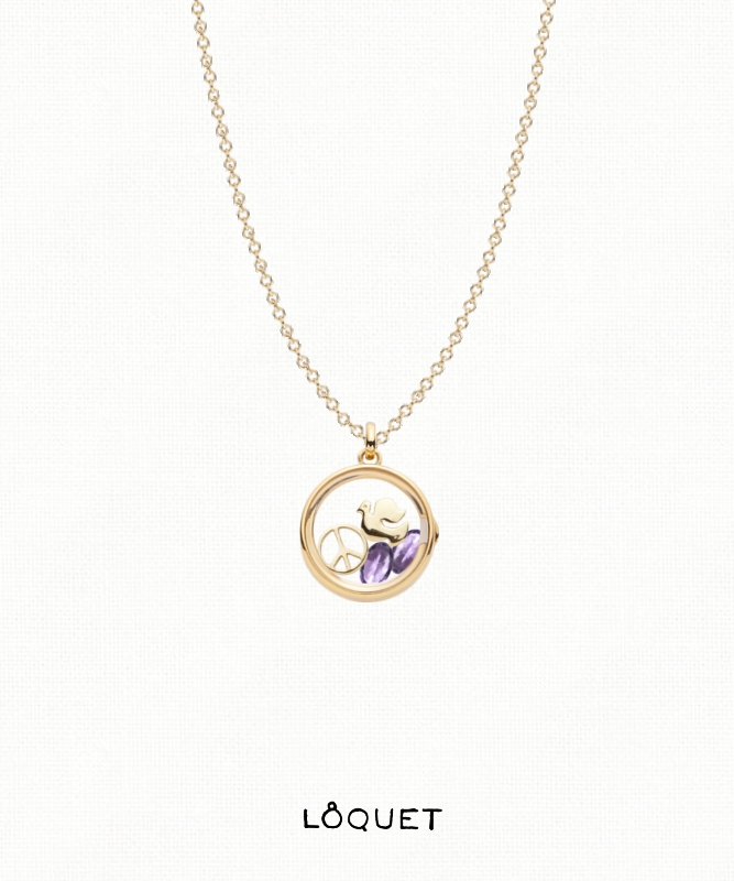 February birthstone amethyst charm and locket