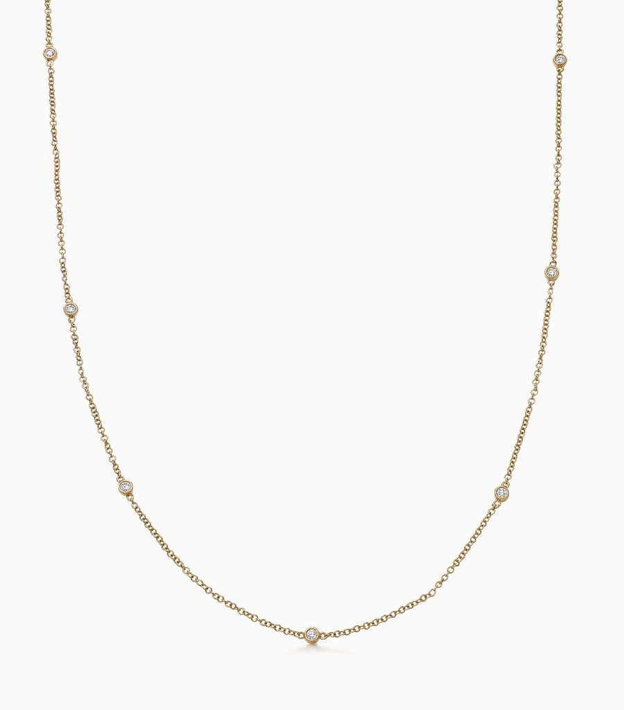 Chain, diamond, yellow gold 18kt, diamond long necklace