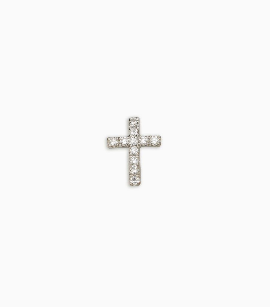 diamond white gold, 18kt, diamond christian cross