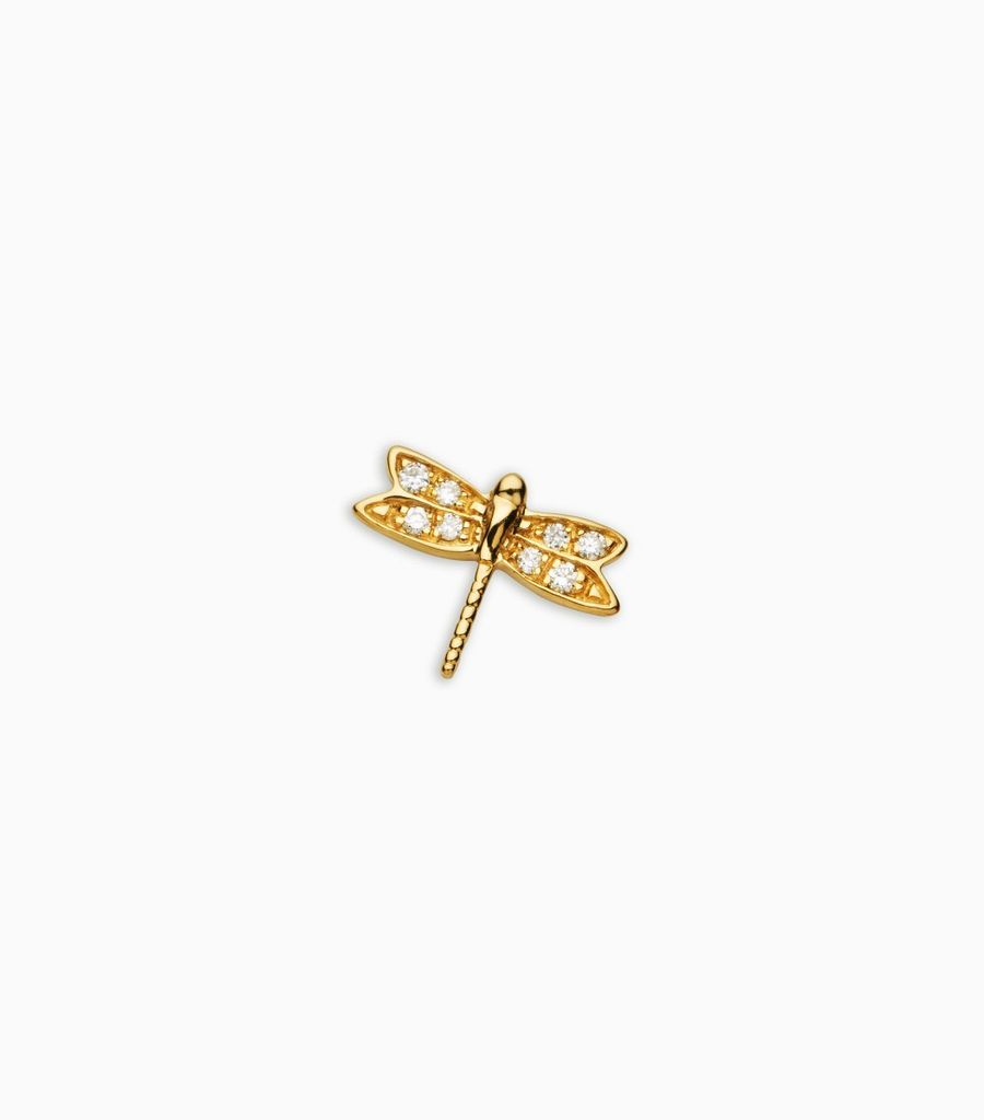 Luck/nature, diamond, yellow gold 18kt, diamond dragonfly