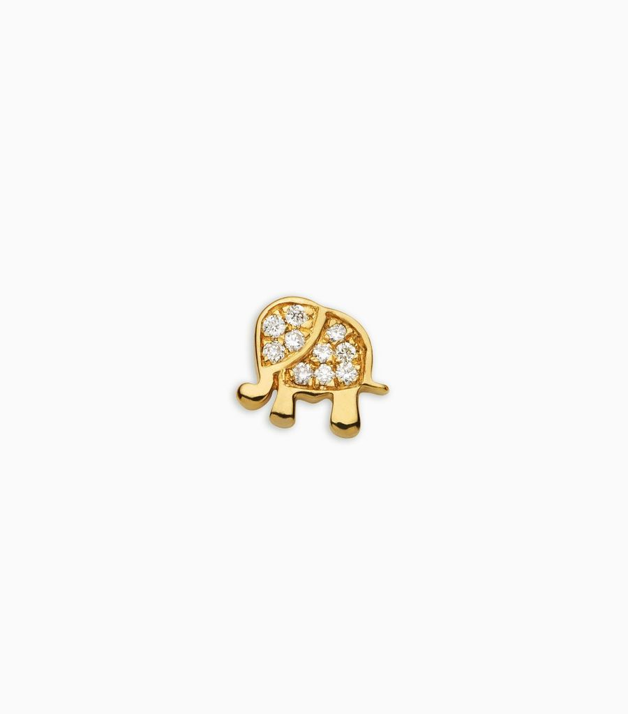 Luck/nature, diamond, yellow gold 18kt, elephant