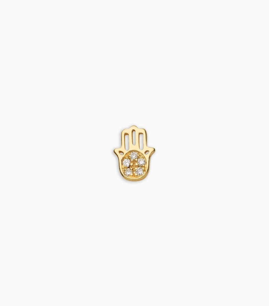 Faith, diamond, yellow gold 18kt, hand of fatima