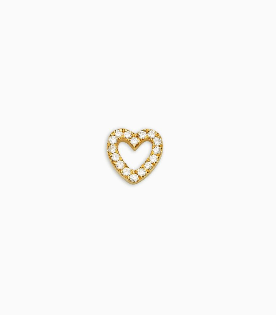 Love, diamond, yellow gold 18kt, diamond heart