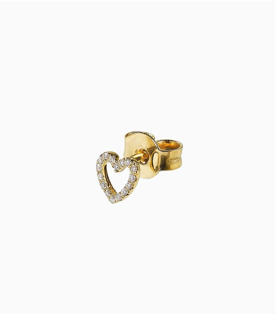 diamond yellow gold, 14k, diamond heart studs