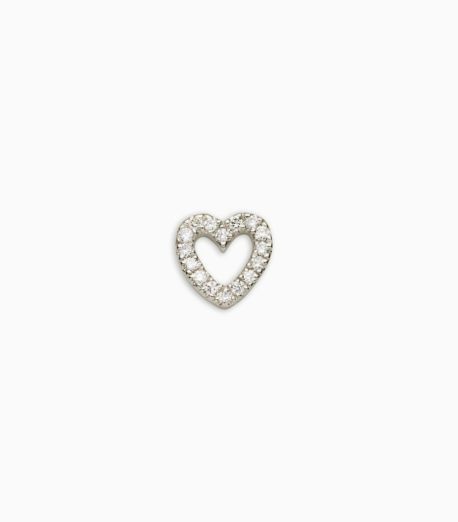 diamond white gold, 18kt, diamond heart