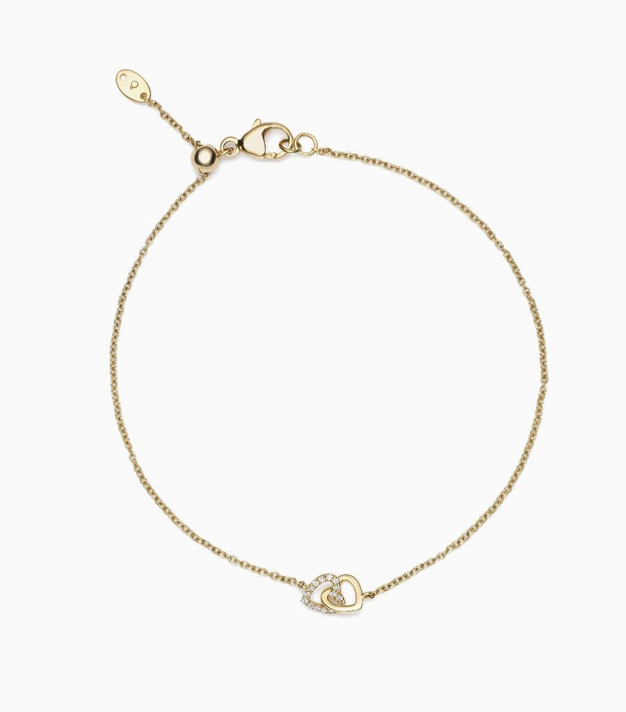 Diamond Linked Hearts, 14k yellow gold, diamonds