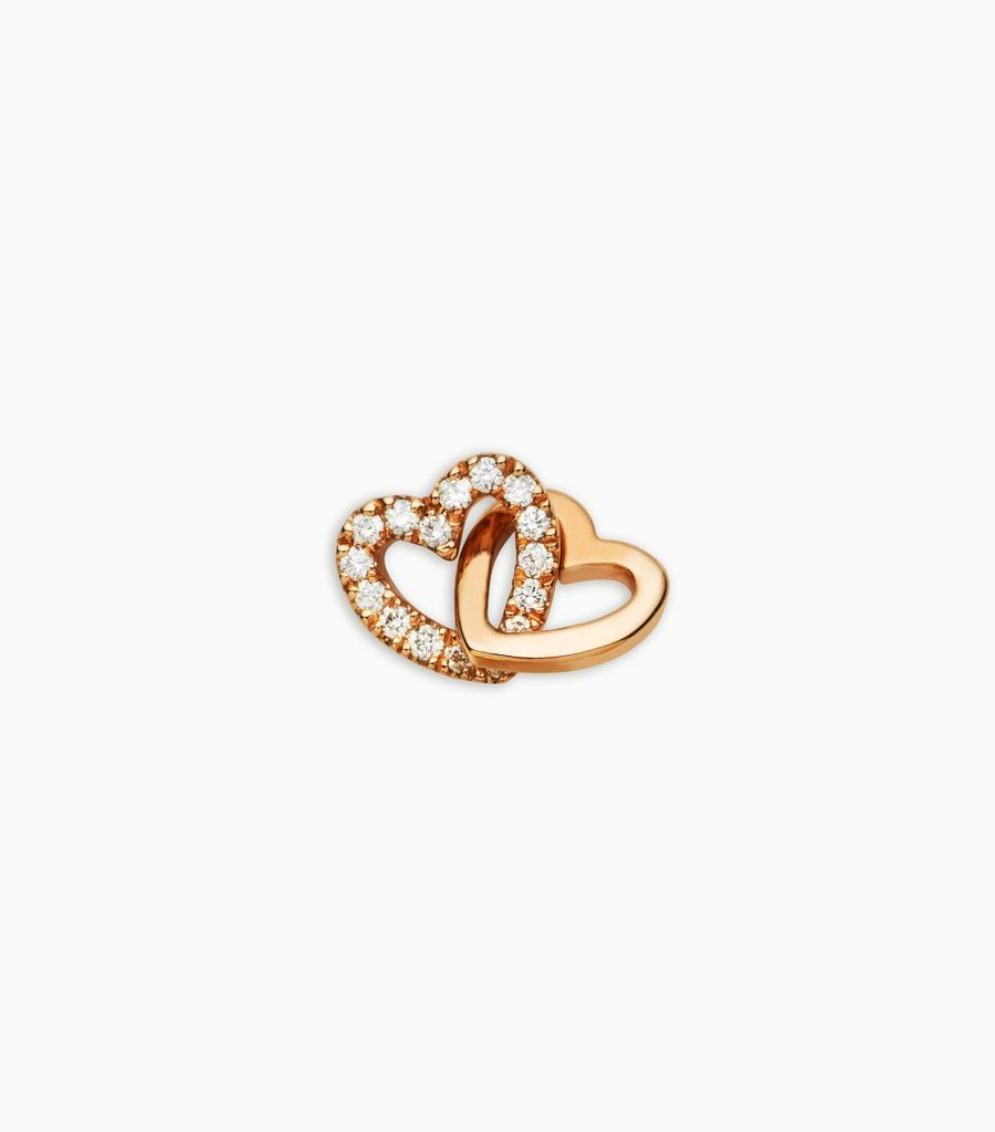 Diamond Linked Hearts Rose Gold