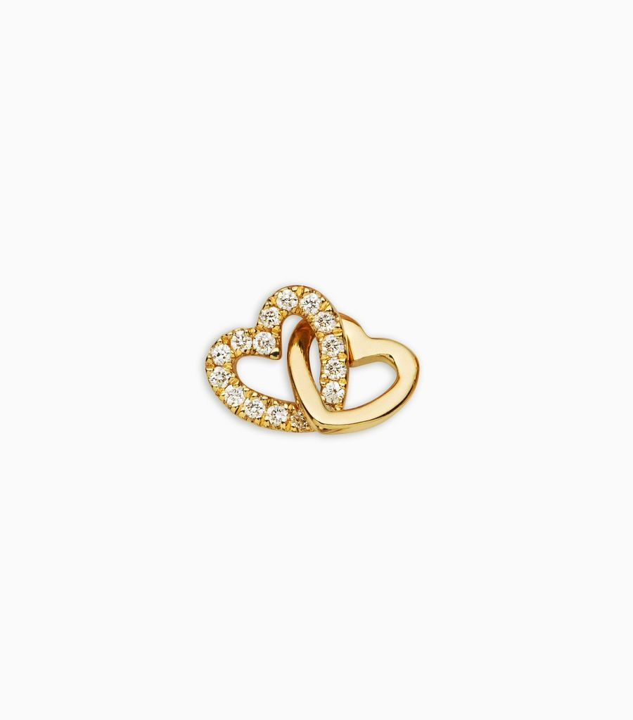 Love/Friendship, diamond, 18kt yellow gold, diamond linked hearts