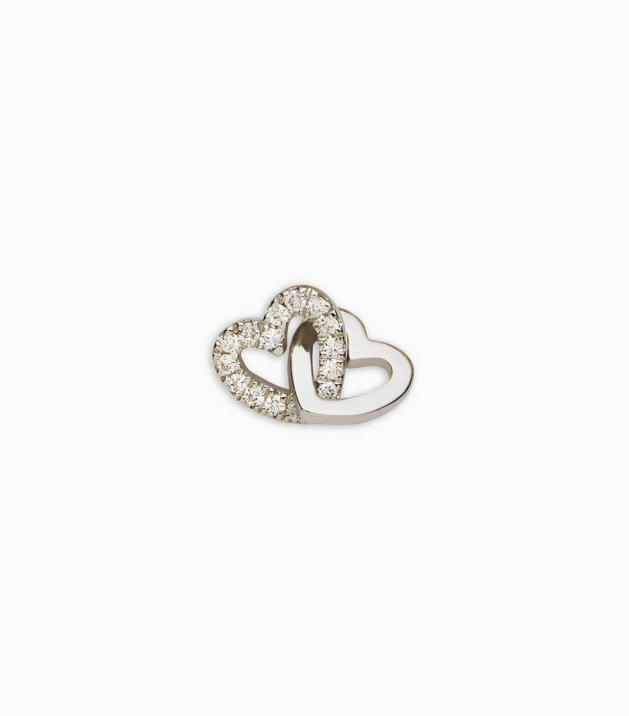 diamond white gold, 18kt, diamond linked hearts