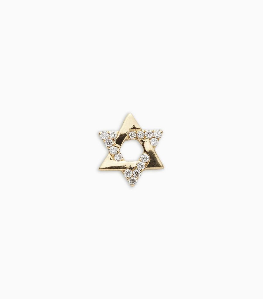 Faith, diamond, yellow gold 18kt, star of david