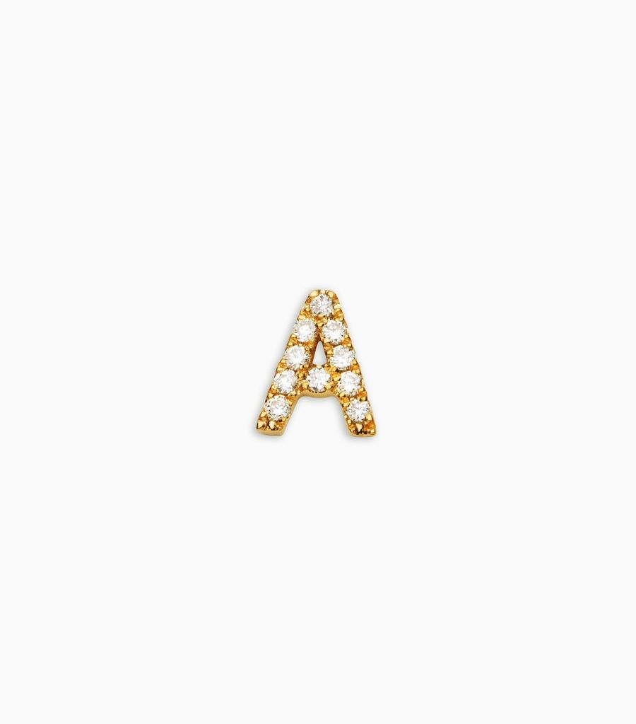 Letter A, yellow gold, diamond, 18k