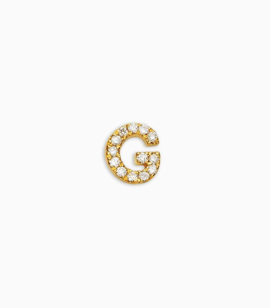Letter G, yellow gold, diamond, 18k