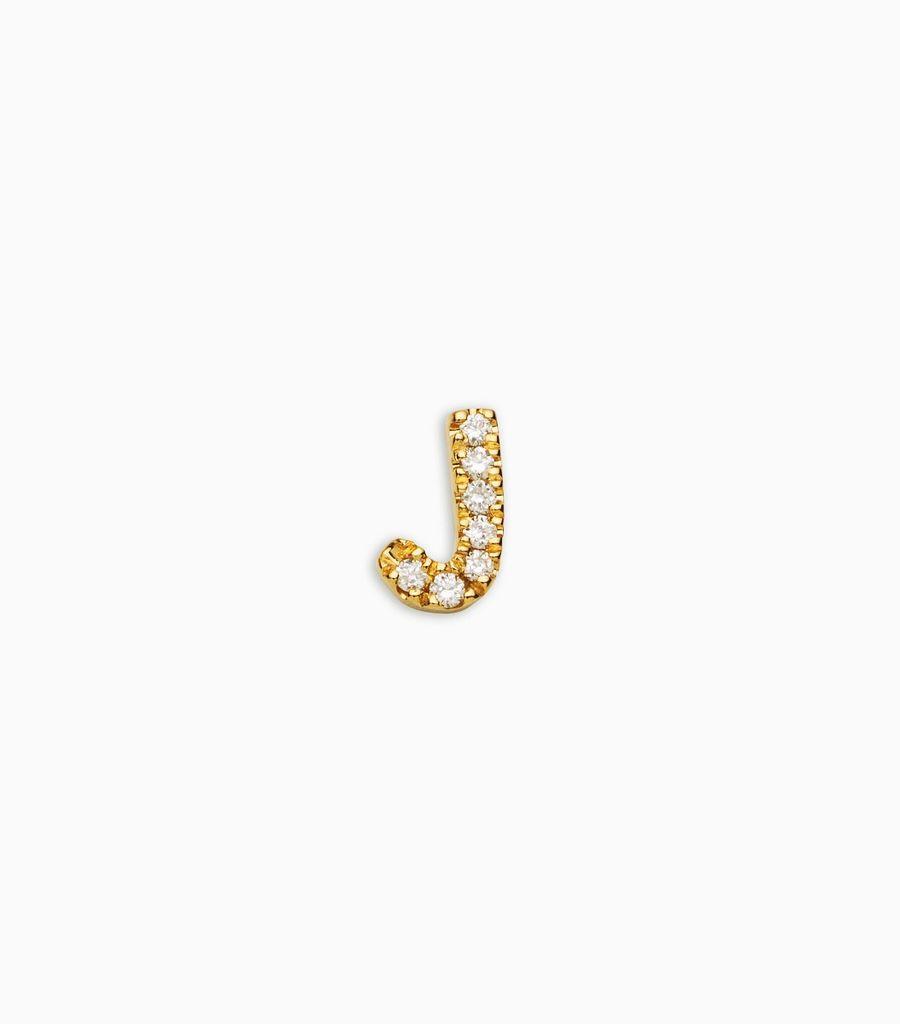 Letter J, yellow gold, diamond, 18k