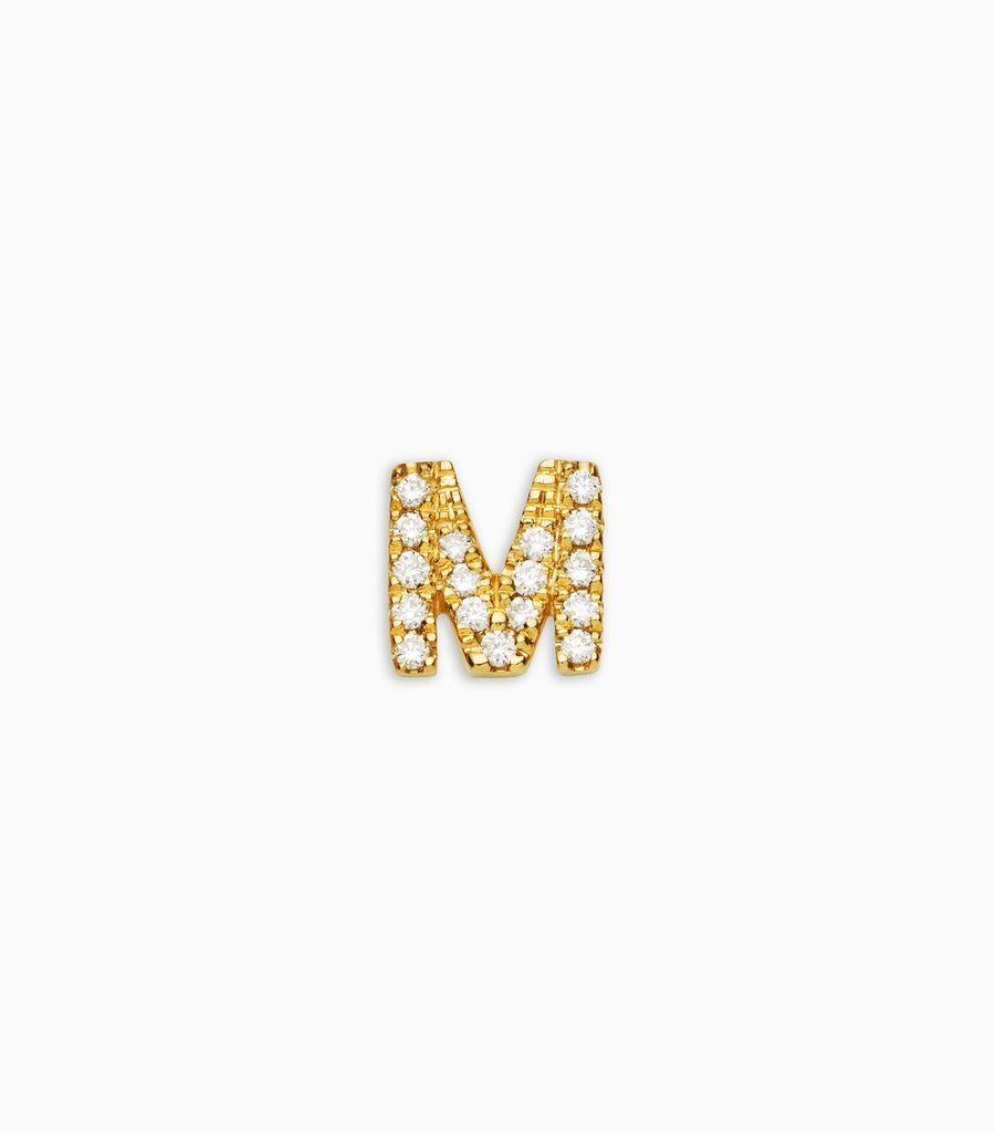 Letter M, yellow gold, diamond, 18k