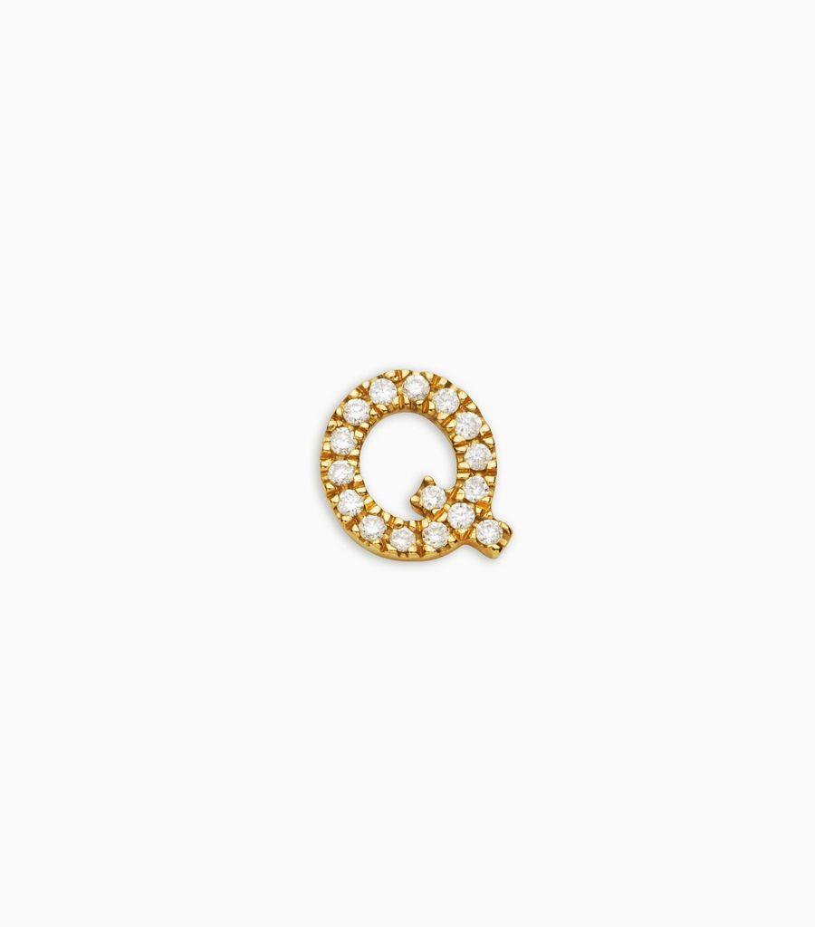 Letter Q, yellow gold, diamond, 18k