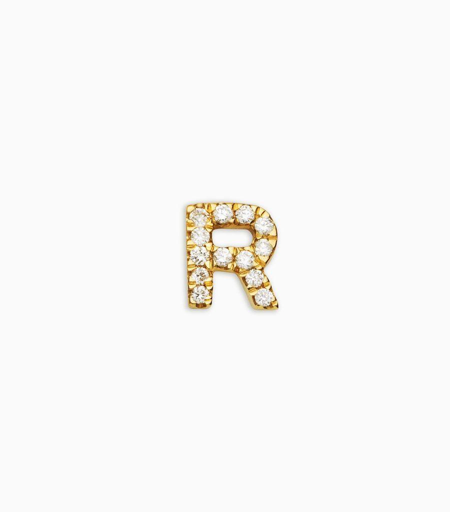 Letter r, yellow gold, diamond, 18k