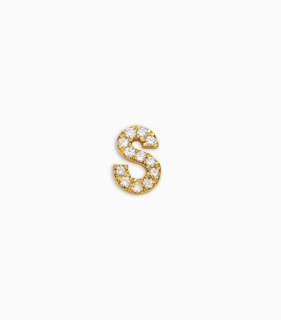 Letter S, yellow gold, diamond, 18k