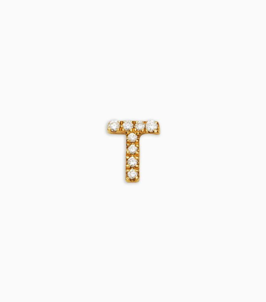 Letter T, yellow gold, diamond, 18k