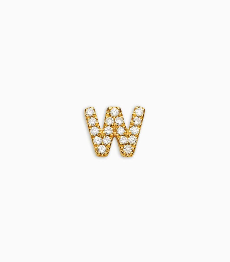 Letter W, yellow gold, diamond, 18k
