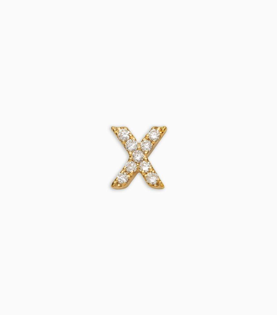 Letter X, yellow gold, diamond, 18k
