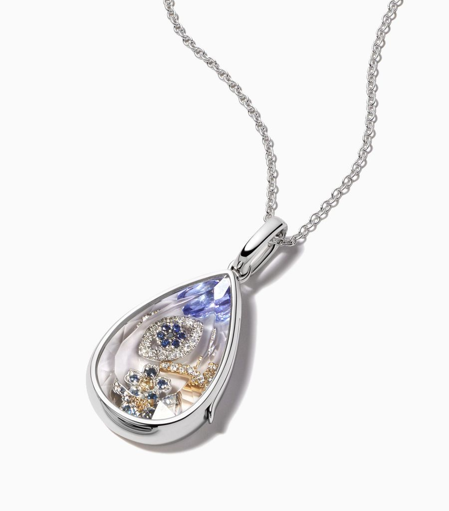 The White Gold Saffron Locket Pendant