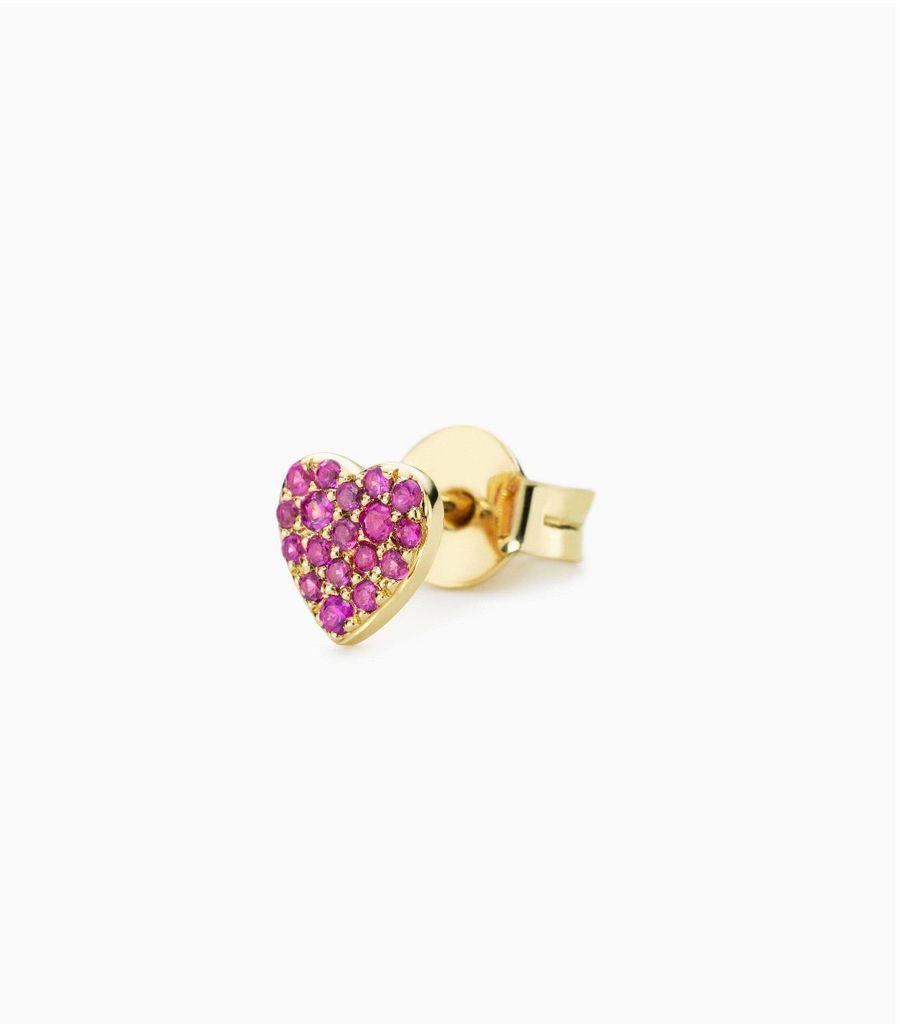 Pink Sapphire Heart Stud