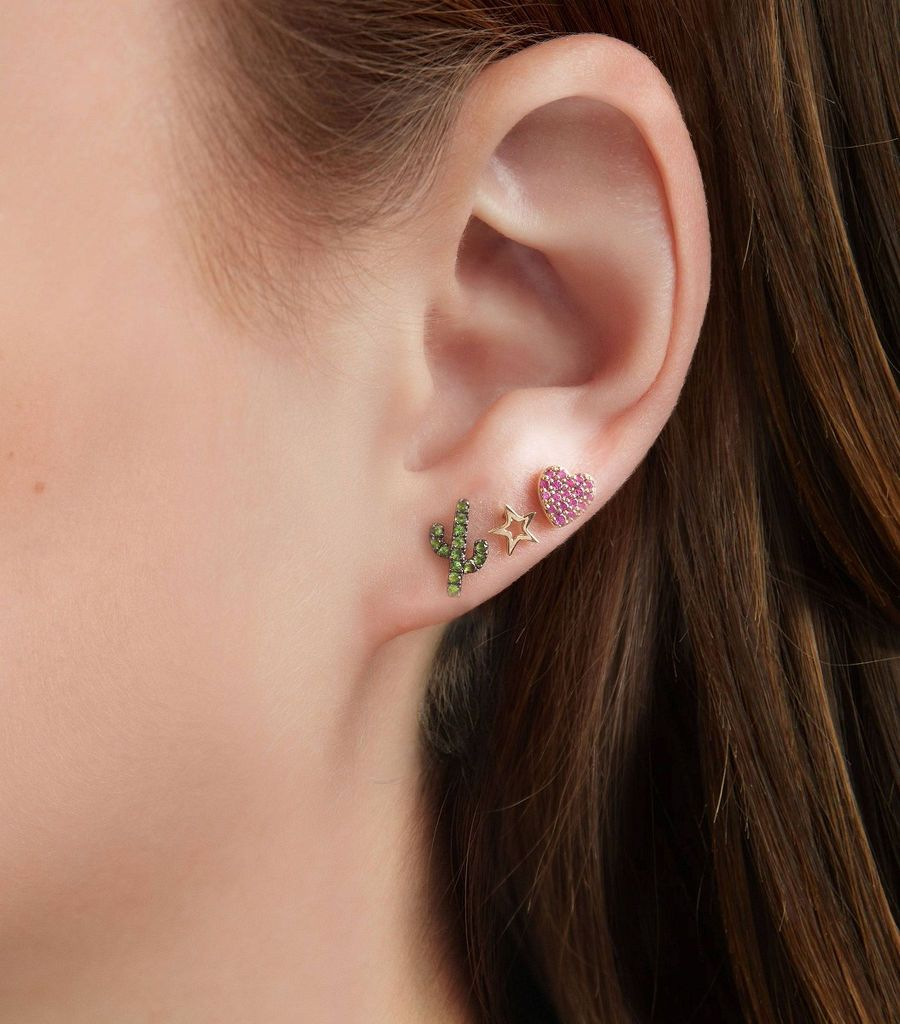 The Pink Sapphire Sweetheart Stud