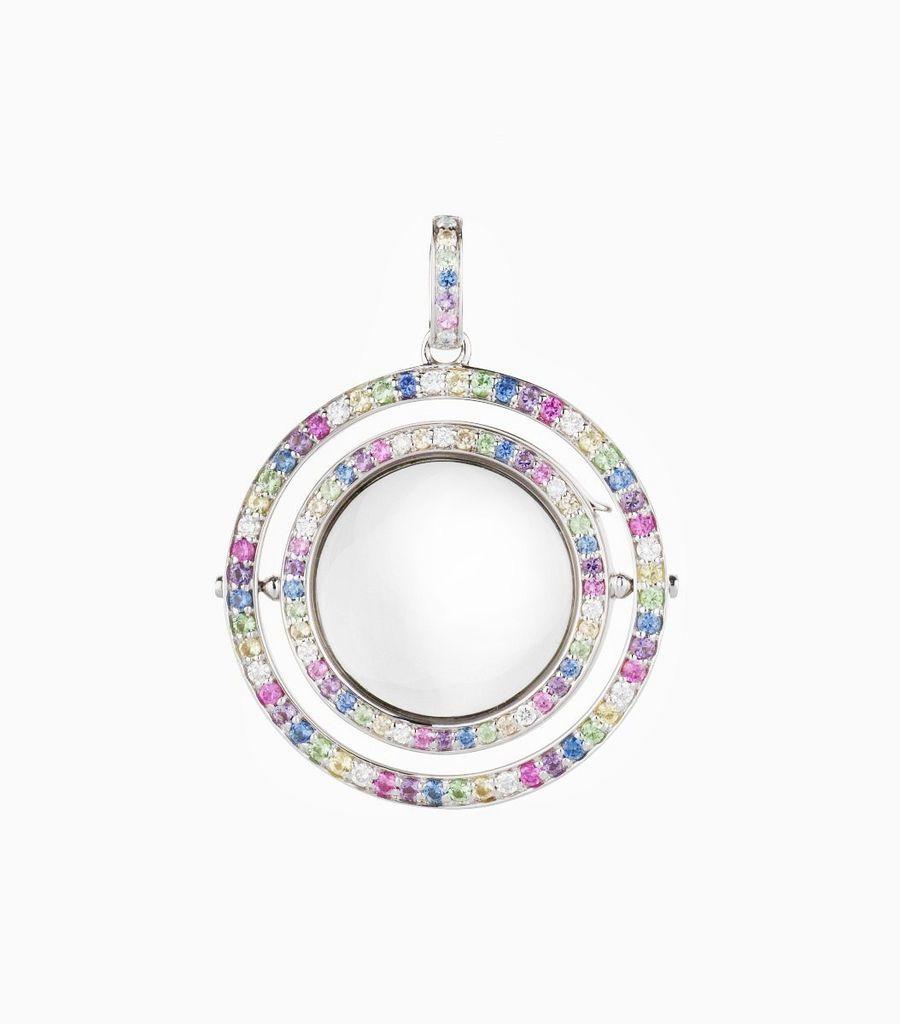 Double Pastel Rainbow Locket with Diamond and Sapphire
