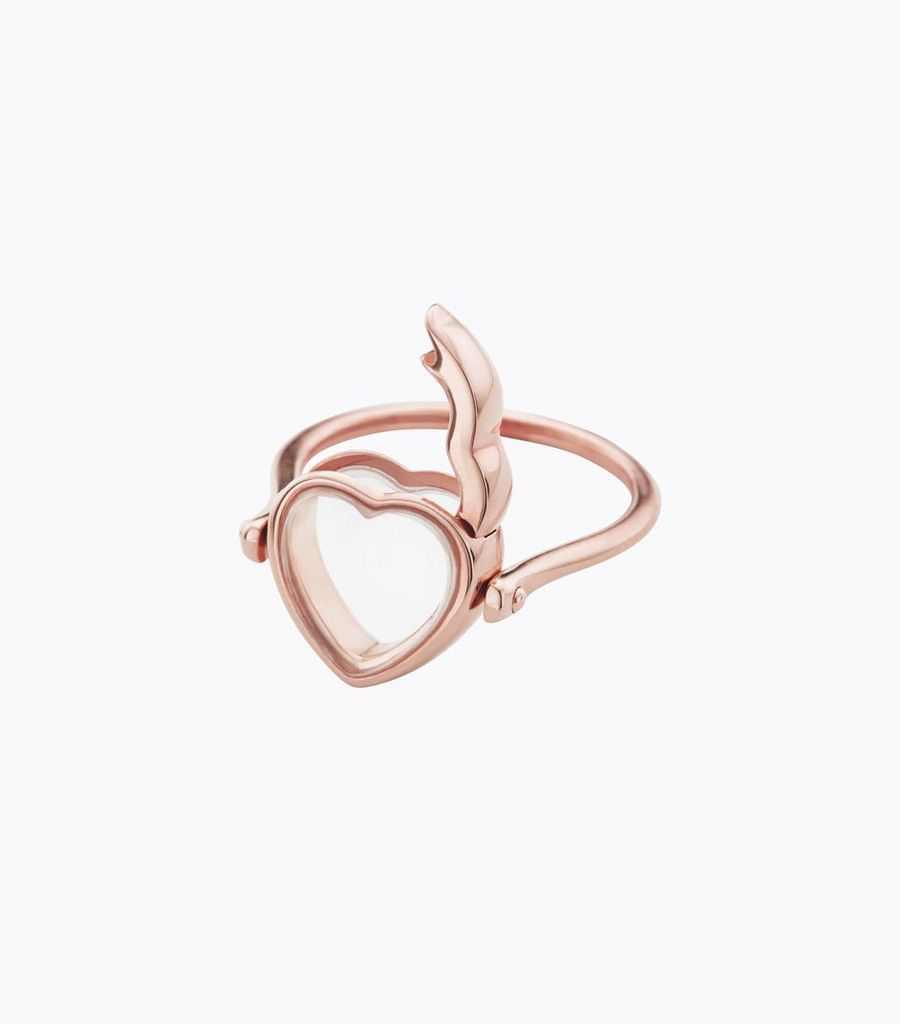 Small heart rose gold loquet ring 53