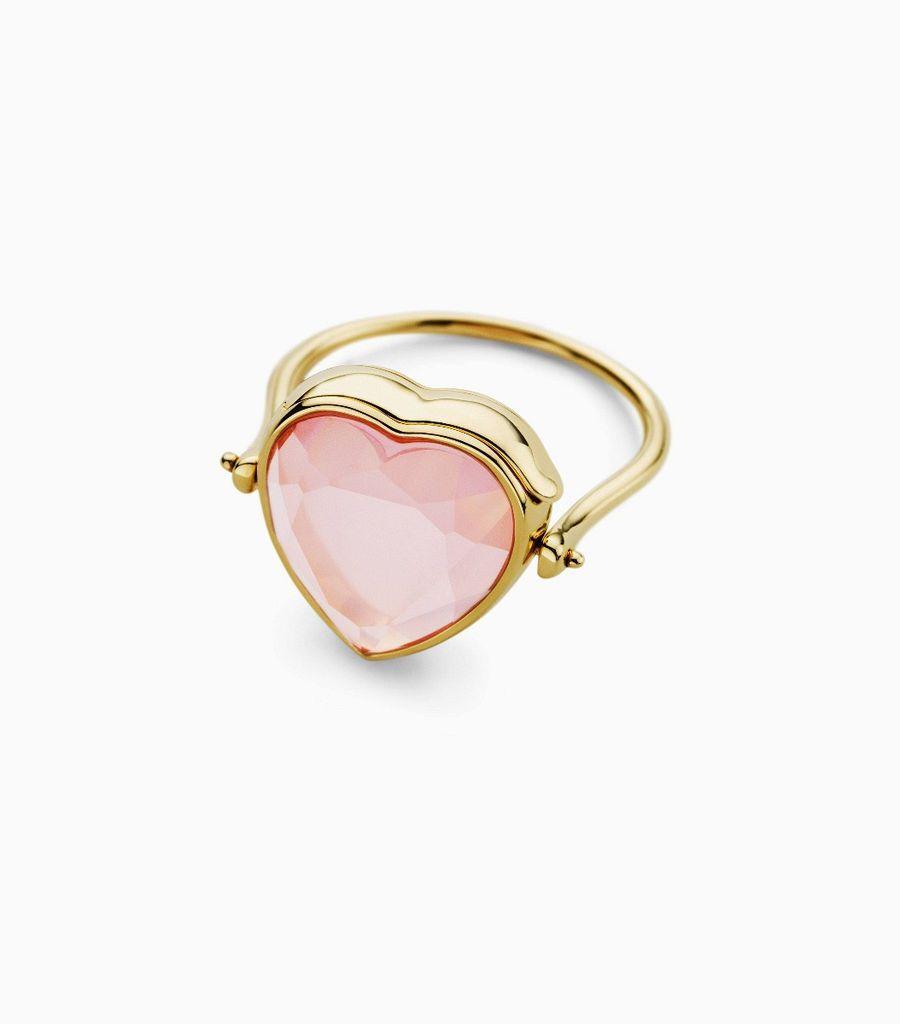 Medium heart rose quartz ring