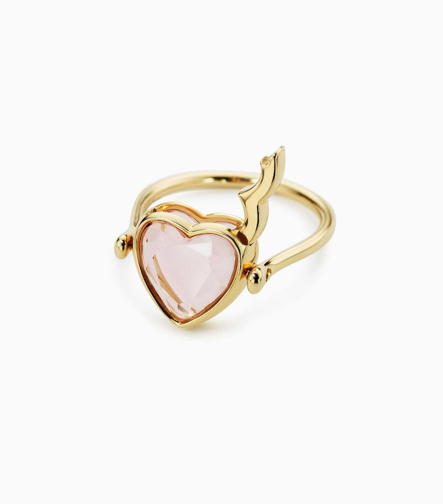 Small Rose Quartz Heart Ring 9k