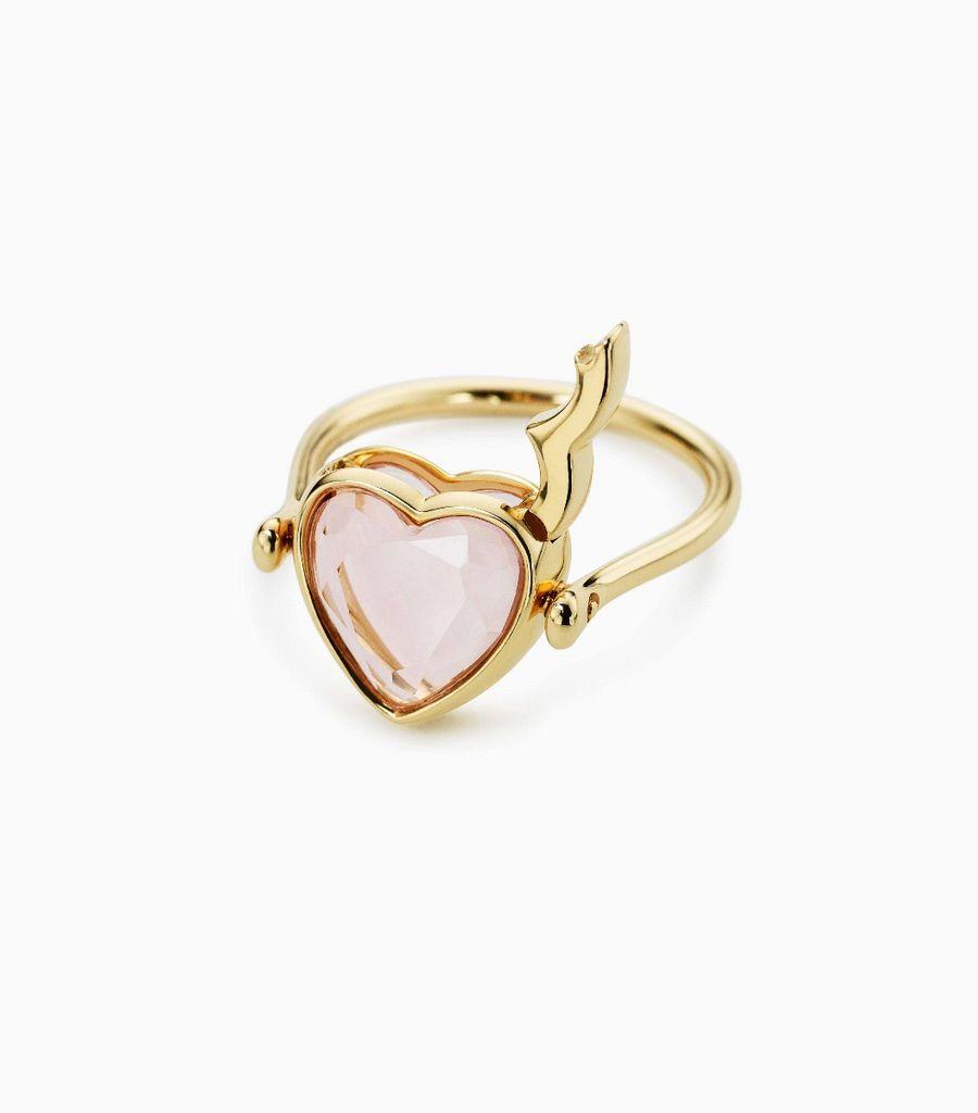 Small Rose Quartz Heart Ring 9k