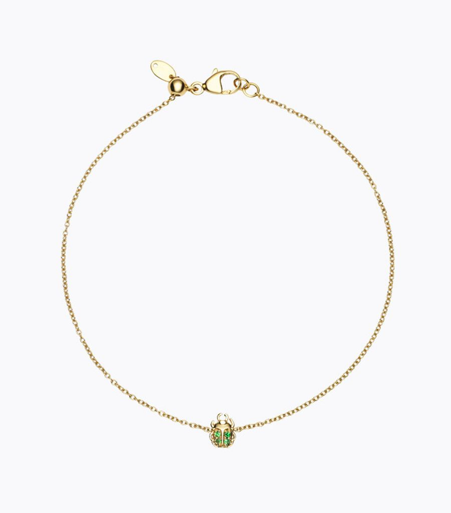 14kt, yellow gold, tsavorite, beetle, bracelet