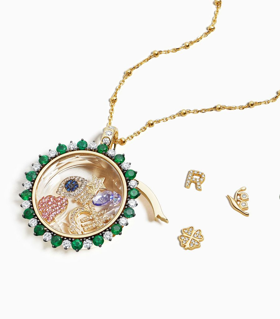 Miasol Emerald and Diamond Gold Locket Pendant