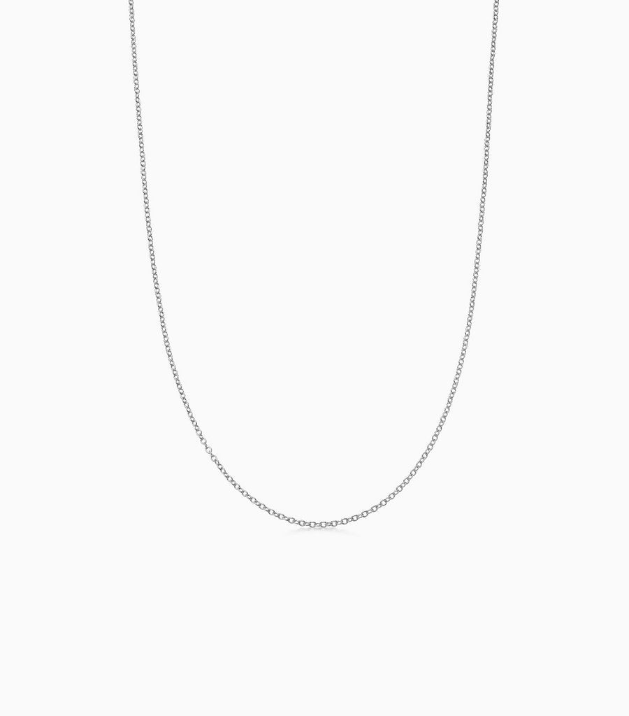 9kt, white gold fine gauge, 18 inch necklace