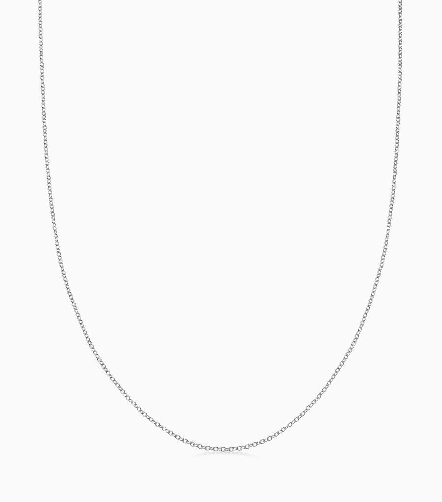 9kt, white gold fine gauge, 32 inch necklace