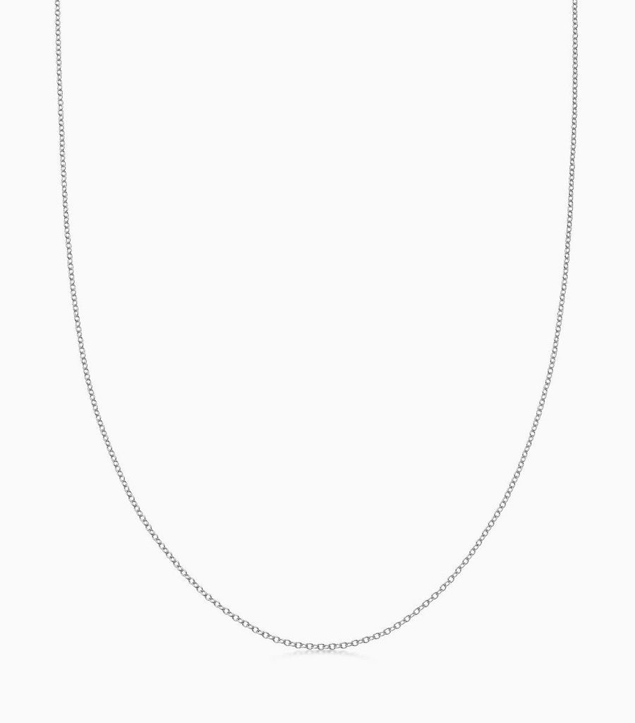 9kt, white gold fine gauge, 32 inch necklace