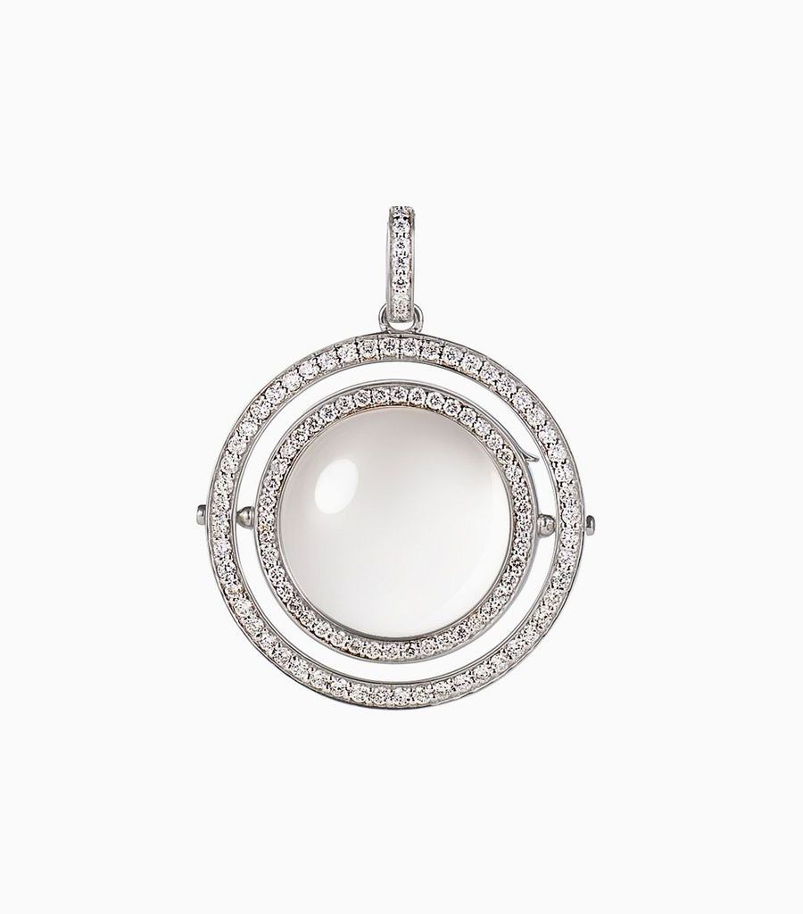 Double diamond round locket, white gold
