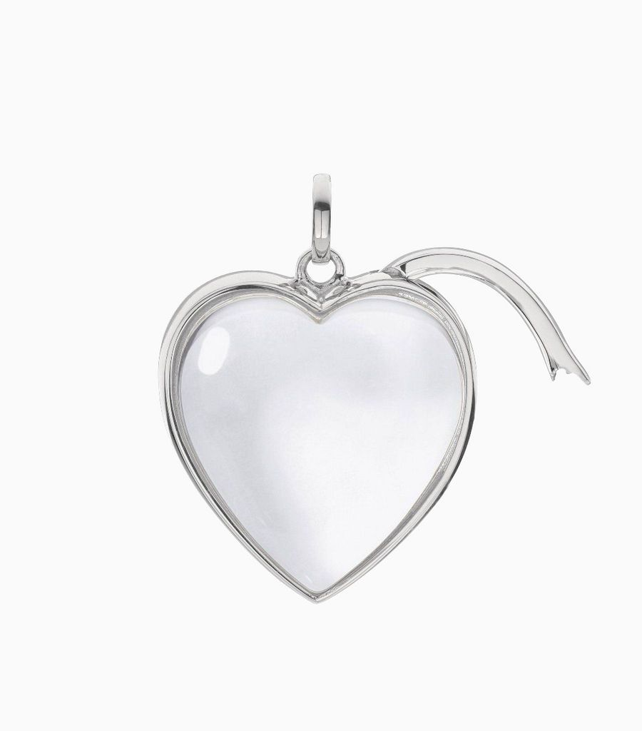 Large Heart Shape Locket Pendant White Gold