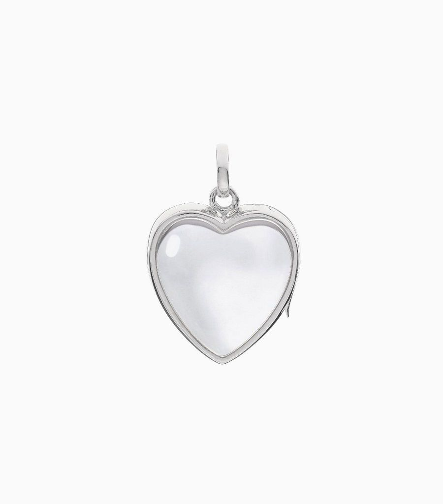14carat white gold, heart shaped locket, set with a bevel edged, crystal glass front and a flat crystal glass back. The locket is designed with a side hindge for secure fastening and has a 18mm drop and a 17mm width