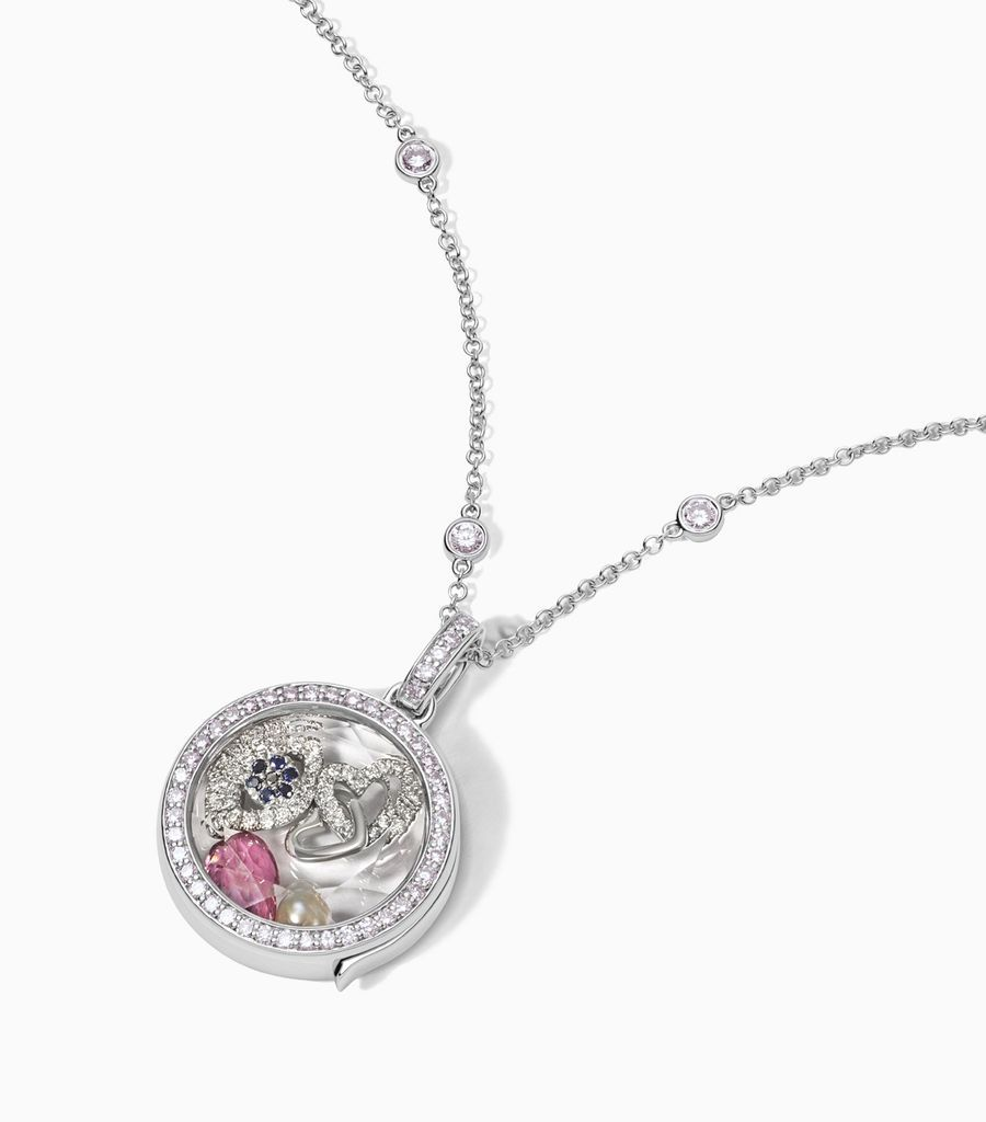 The Diamond Locket Pendant in White Gold