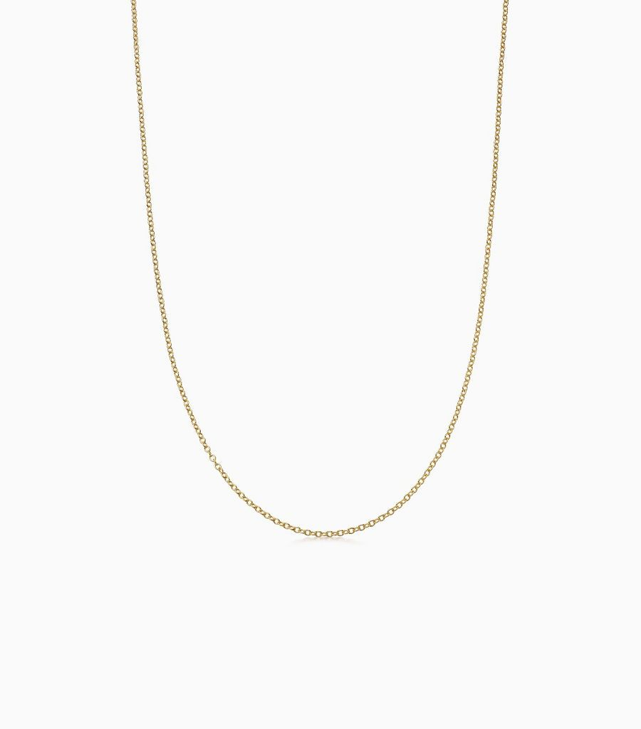 9carat yellow gold fine gauge chain, with an adjustible sliding ball, so that the necklace can be worn at either 16 or 18 inches. Logo disk on the back.