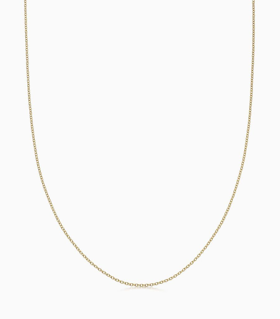 18carat yellow gold, fine gauge chain, with an adjustible sliding ball, so that the necklace can be worn at either 16 or 18 inches. Logo disk on the back