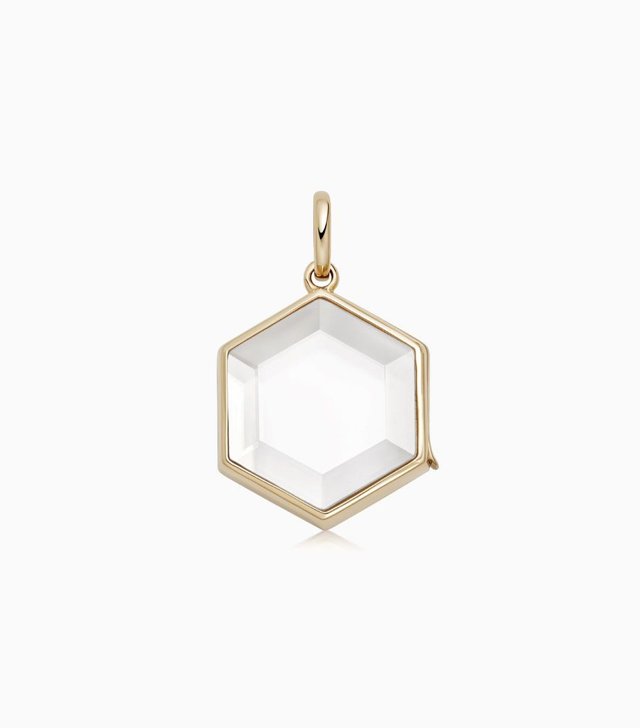 The Hexagonal Gold Locket Pendant