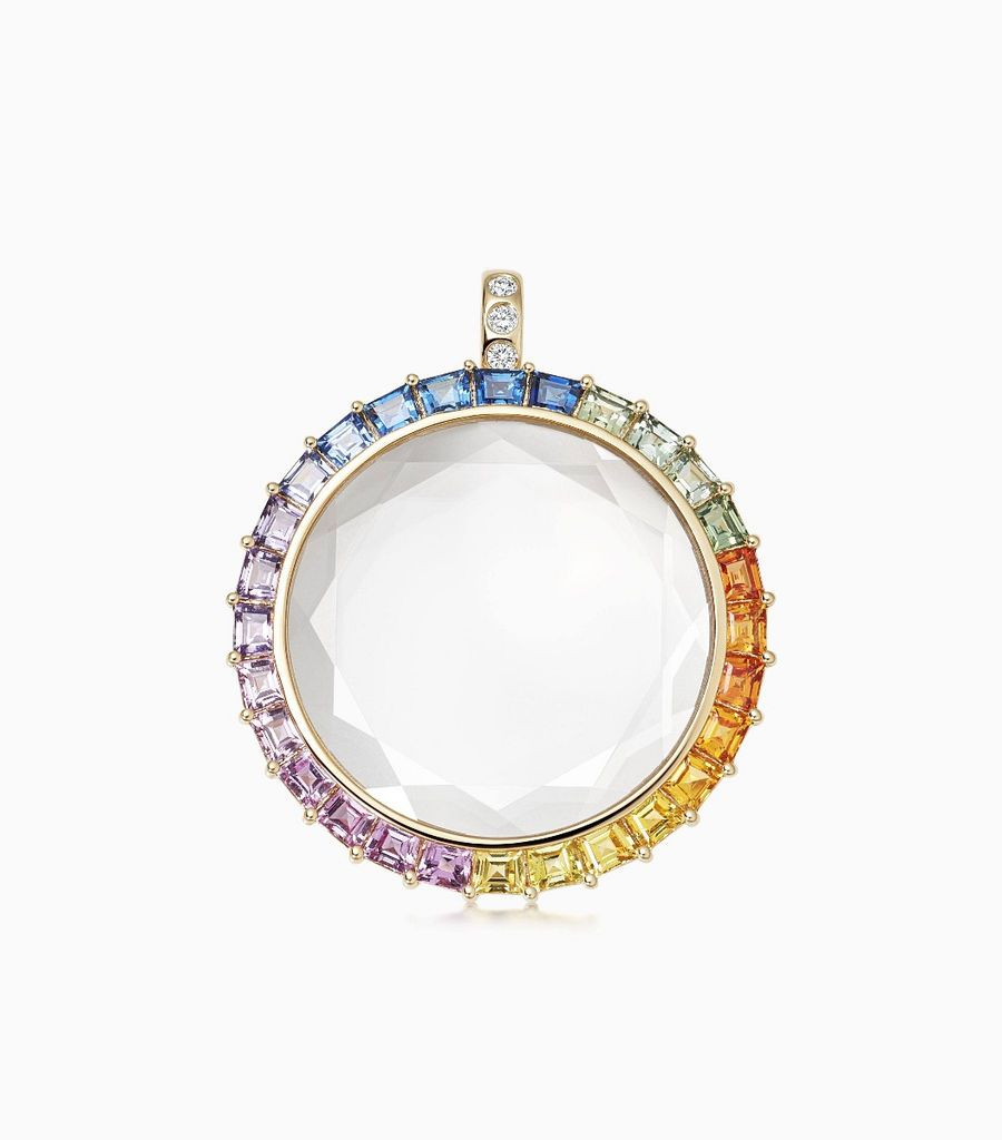 Large Rainbow Gold Locket Pendant