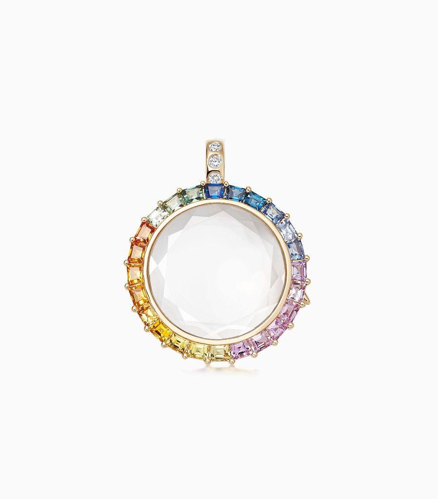 Medium Rainbow Gold Locket Pendant
